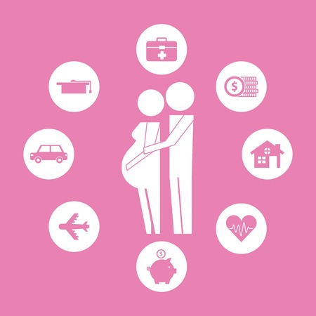 couple pregnancy hugging family protection vector illustration
