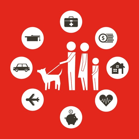 parents and son with dog family protection vector illustraiton Standard-Bild - 110086104