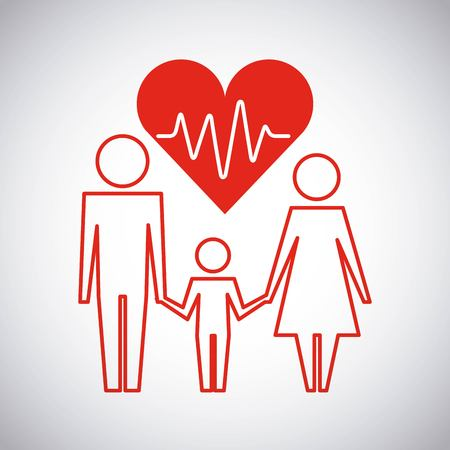 parents and son healthcare heart family protection vector illustration Illustration