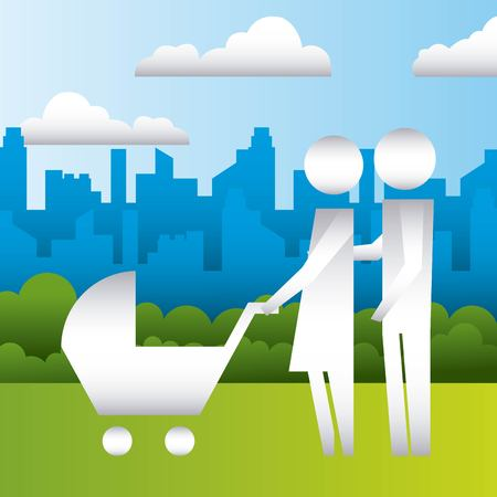 parents with baby pram in the park family protection vector illustration