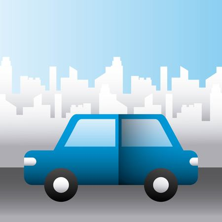 blue car vehicle transport city family protection vector illustration