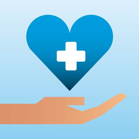 hand holding heart care family protection vector illustration