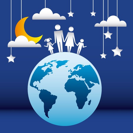 family protection couple childs on the world stars clouds night vector illustration