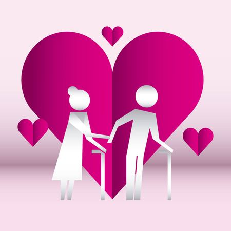 hearts old couple together united hands vector illustration