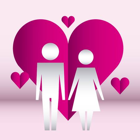 hearts hanging love couple united hands vector illustration Illusztráció