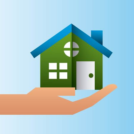 hand holding house residence family protection vector illustration