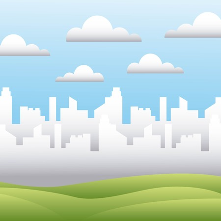 white silhouette city field sky landscape vector illustration Illustration