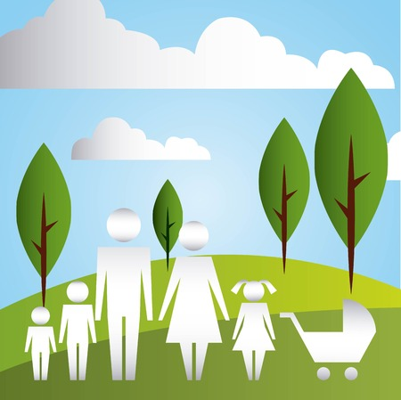 parents and son daughter baby pram in the park family protection vector illustration