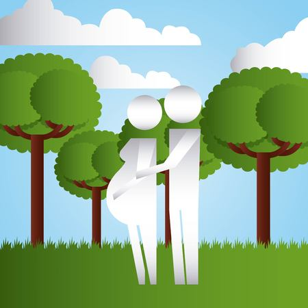 couple pregnancy in the park family protection vector illustration