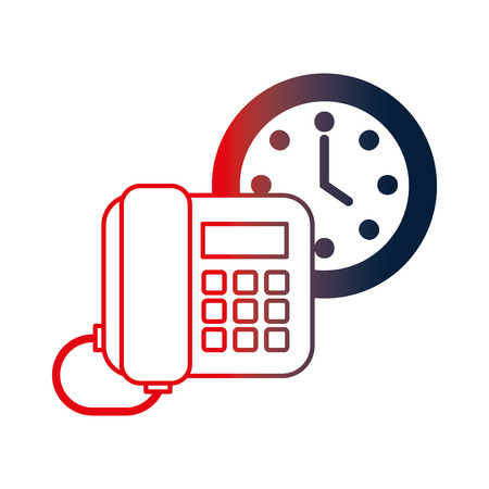 digital telephone with watch vector illustration design