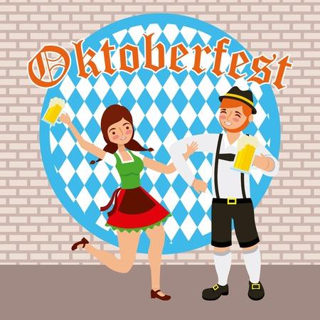 Oktoberfest célébration couple heureux célébrer holding bières vector illustration