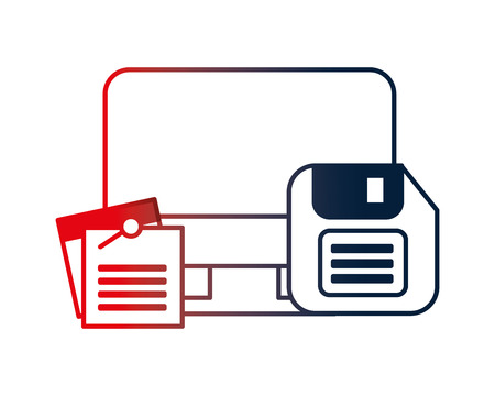 computer desktop with documents and floppy vector illustration design