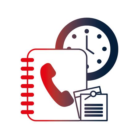 phonebook agend with watch and document vector illustration design Ilustração