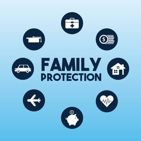 family protection stickers house heart piggy car airplane vector illustration