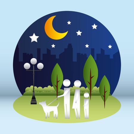 family protection city park night couple walking dog vector illustration Illusztráció