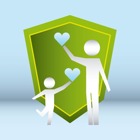 family protection shield child male holding hearts vector illustration Archivio Fotografico - 110086150