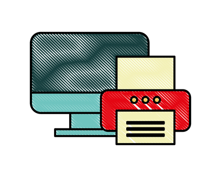 computer printer device technology document office vector illustration
