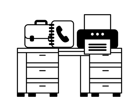 office with desk and printer workplace vector illustration design