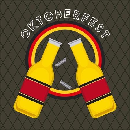 oktoberfest german celebration sticker germany flag colors bottles drinks vector illustration