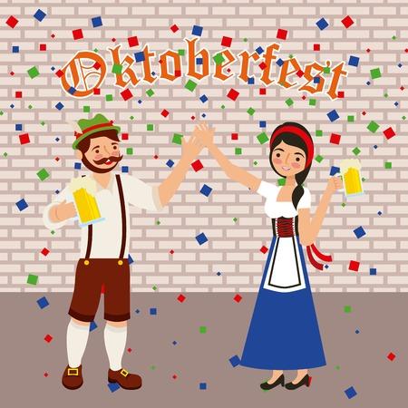 oktoberfest celebration confetti couple holding hands beers vector illustration