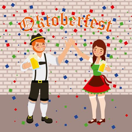 oktoberfest celebration couple dancing holding hands vector illustration Illustration