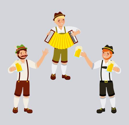 oktoberfest celebration boys playing accordion holding beers vector illustration Illustration
