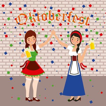 oktoberfest celebration confetti festival girls holding beers vector illustration
