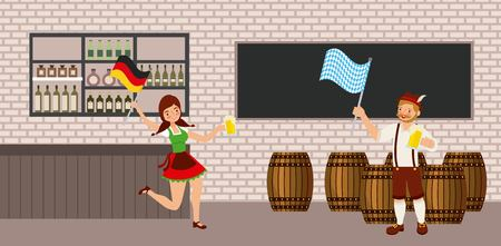 oktoberfest celebration tavern barrels german flags vector illustration Illustration