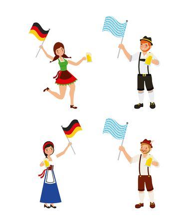 oktoberfest celebration girls boys holding flags vector illustration Stock Illustratie