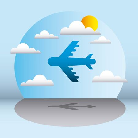 sticker clouds sunny day airplane flying vector illustration