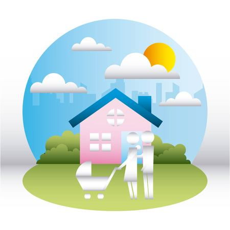 family protection city house couple together walking dog sunny day vector illustration