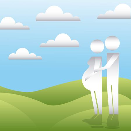 clouds mountain couple together waiting pregnancy vector illustration Illustration
