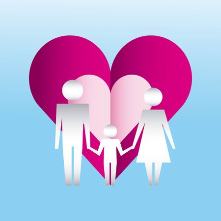 family protection heart couple childs together love vector illustration Illusztráció