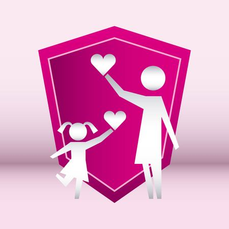 family protection pink shield girl female holding hearts vector illustration 일러스트