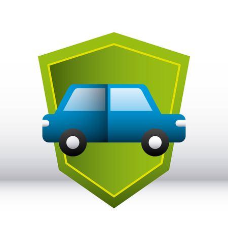 shield protection car drive degrade background vector illustration Banque d'images - 110086175