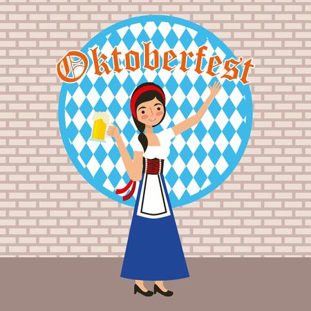oktoberfest celebration cute girl with dress hand up holding beer vector illustration