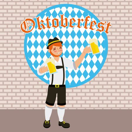 oktoberfest celebration red hair boy holding beers festival vector illustration