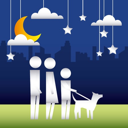 city park night couple with child walking dog vector illustration Illusztráció