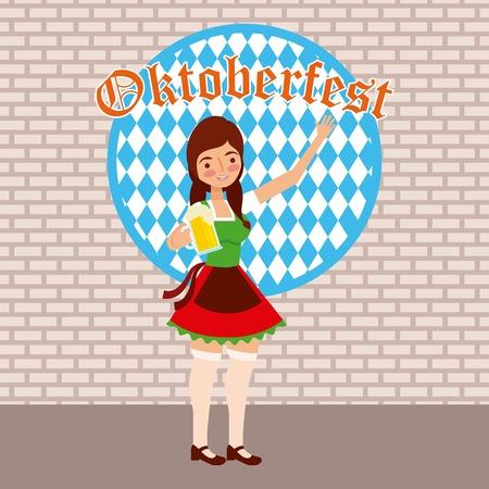 oktoberfest celebration sticker sign girl holding beer festival vector illustration Çizim