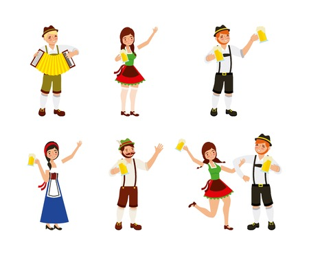 oktoberfest celebration girls and boys festival beer celebrate vector illustration  イラスト・ベクター素材