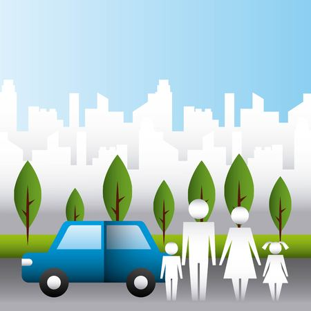 family protection city park car road couple childs vector illustration