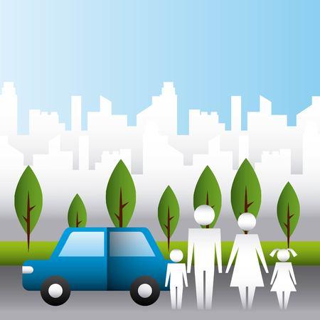 family protection city park car road couple childs vector illustration Reklamní fotografie - 108155963