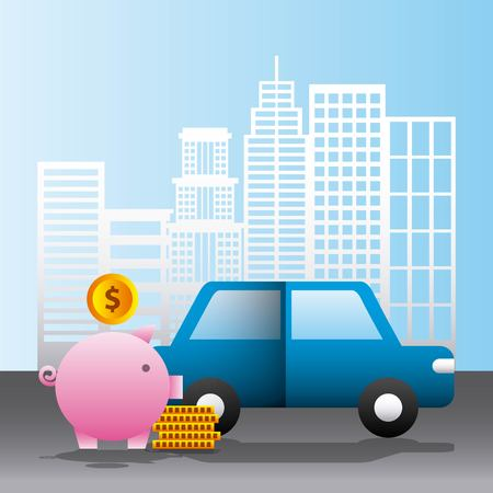 street car city coins piggy money vector illustration