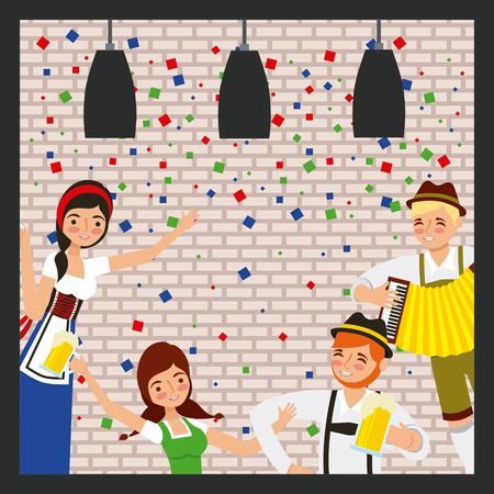 oktoberfest celebration frame confettis lamps lights poeple holding beers vector illustration