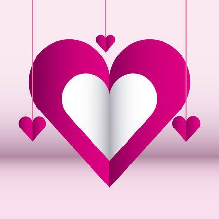 hearts hanging love pink color background vector illustration