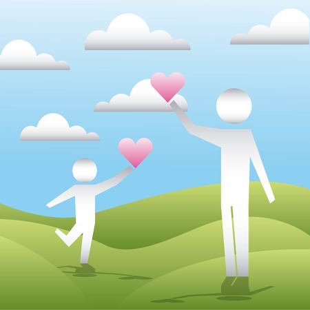 mountains male child holding hearts clouds vector illustration Illustration