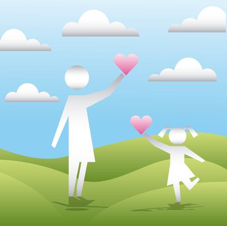 clouds mountains girl female holding hearts love vector illustration Illustration