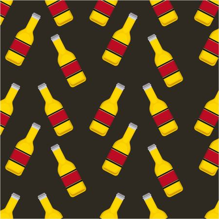 oktoberfest german celebration bottles beer drinks background vector illustration Illustration