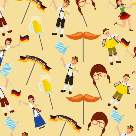 oktoberfest german celebration stickers boys girls holding beers flags vector illustration 일러스트