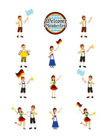 oktoberfest german celebration people holding beers flags enjoy dancing vector illustration Stock Illustratie
